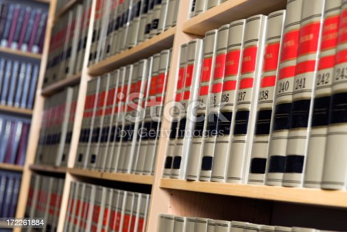 Shelves of legal books in a law library.  Very narrow dof.