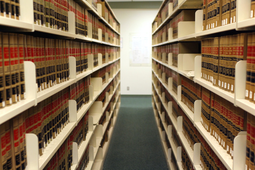Shelves Of Legal Digests In Law Library Stock Photo - Download Image Now