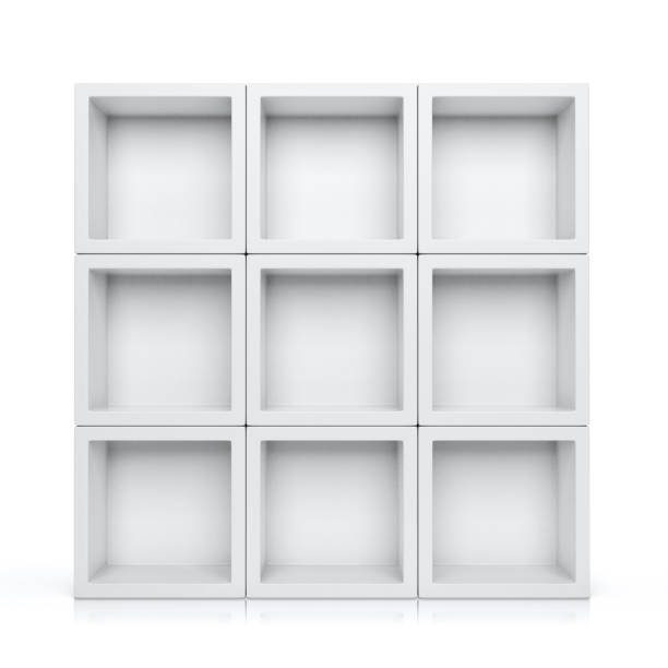 Shelves Shelves isolated on white background magazine rack stock pictures, royalty-free photos & images