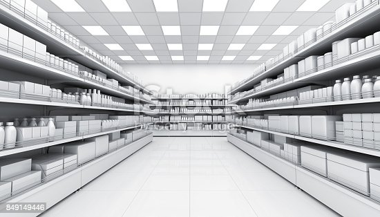 istock Shelves with blank goods in the interior of the store 849149446
