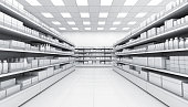 Shelves with blank goods in the interior of the store