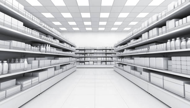 shelves with blank goods in the interior of the store - retail display stock photos and pictures