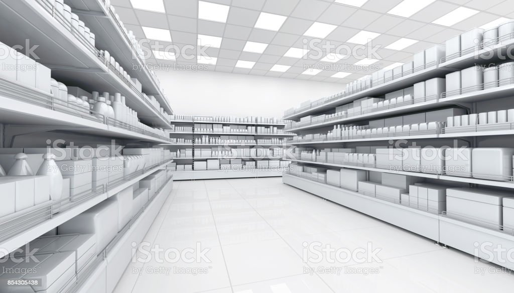 Shelves with blank goods in the interior of the store stock photo