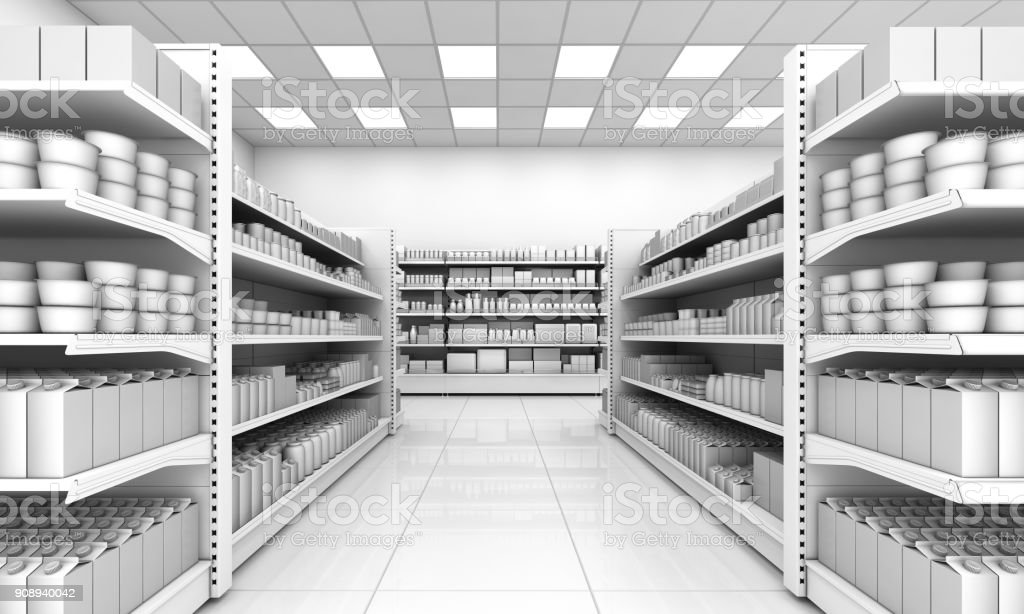 Shelves with blank goods in the interior of the store. stock photo