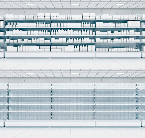 Shelves with blank goods in the store. stock photo