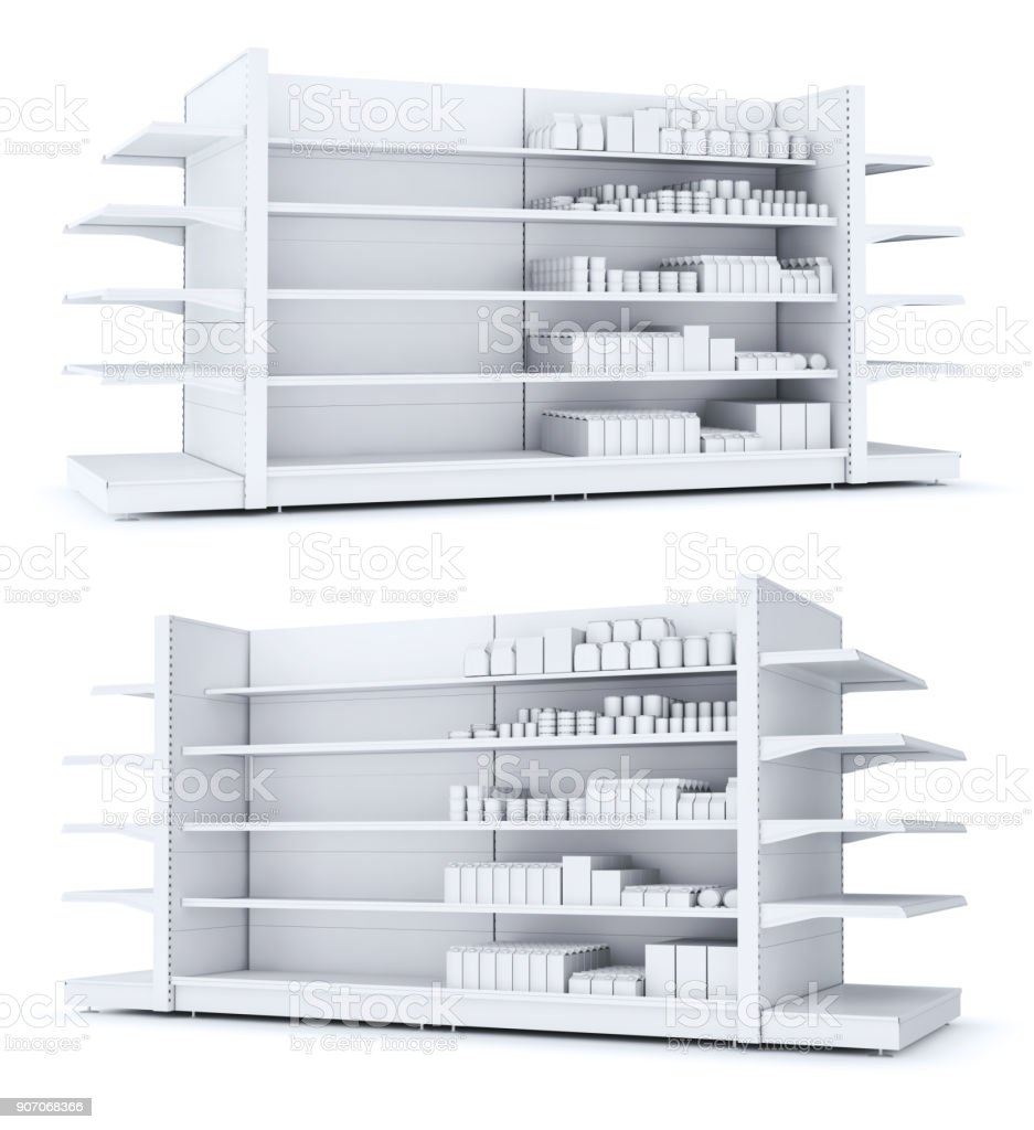 Shelves with blank goods in the store stock photo