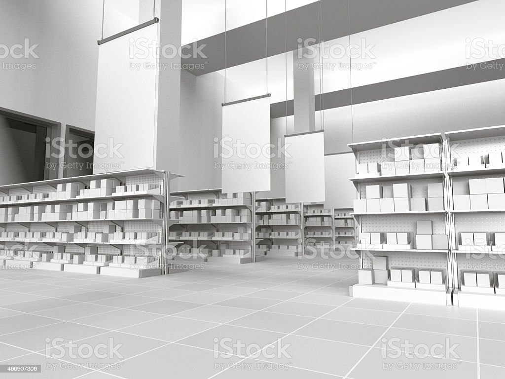 shelves with blank products and posters stock photo