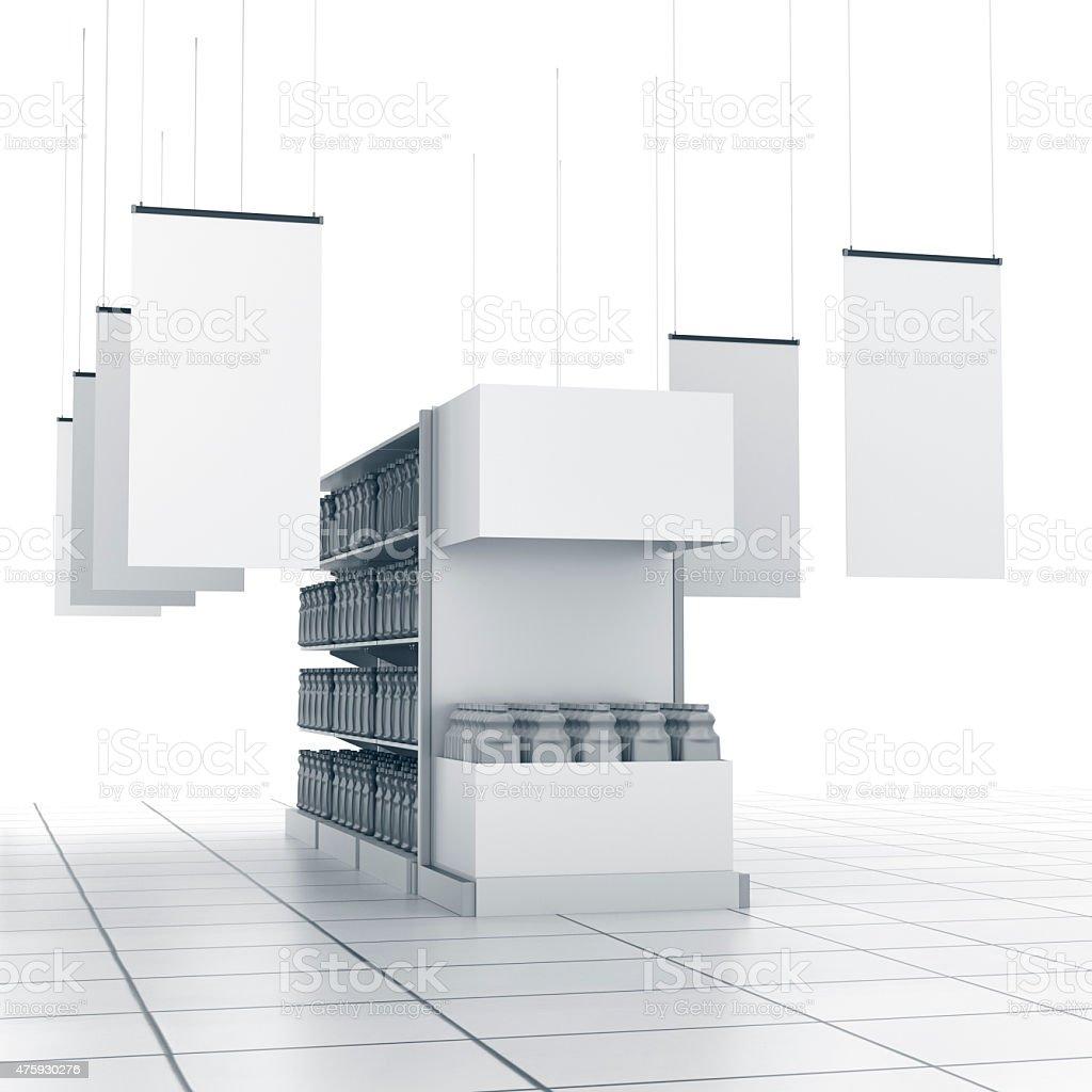 Estantes con productos y pósteres blanco - foto de stock