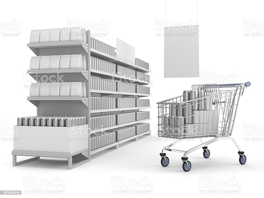shelves with blank products and shopping-chart - foto de stock