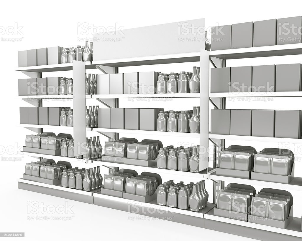 set of shelves full of products with shelf-stoppers in a supermarket