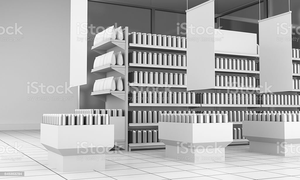 set of shelves full of products in a supermarket