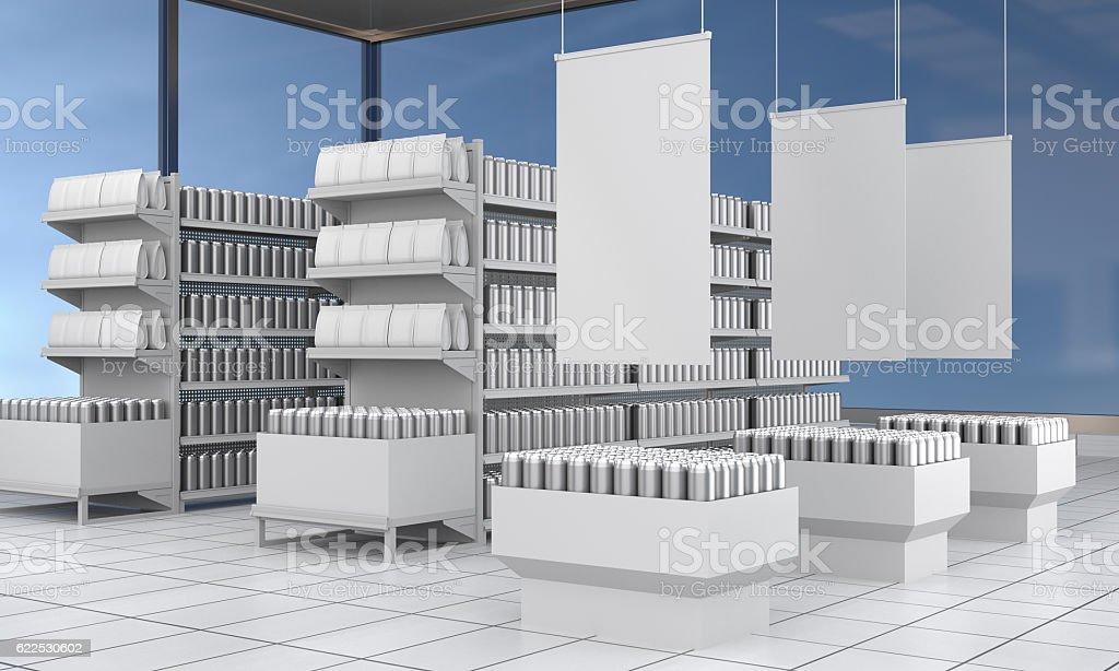 ESTANTES CON PRODUCTOS en blanco - foto de stock