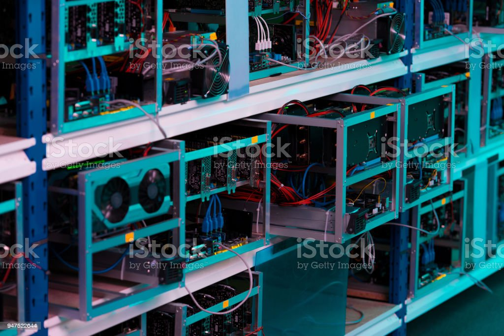 shelves with graphic cards at ethereum mining farm royalty-free stock photo