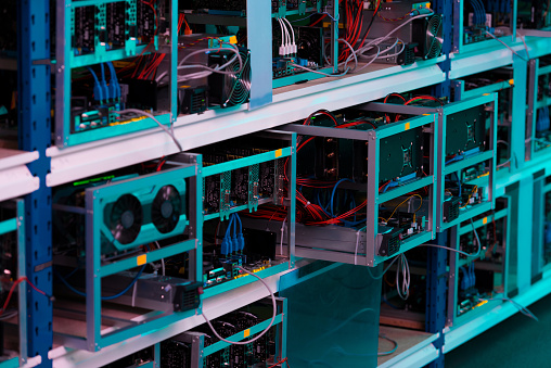 Shelves With Graphic Cards At Ethereum Mining Farm Stock Photo - Download Image Now