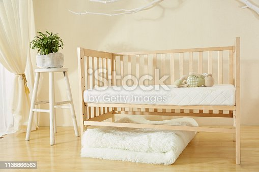 1061427386 istock photo Shelves with hanger in modern baby room 1138866563