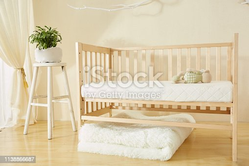 1061427386 istock photo Shelves with hanger in modern baby room 1138866687