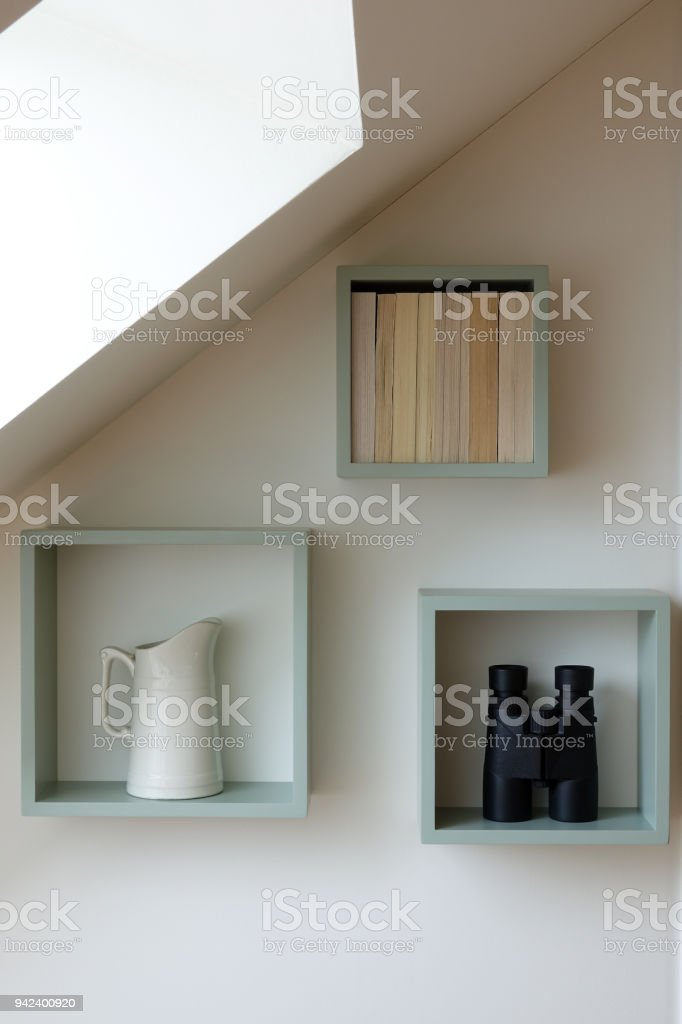 Shelves with ornaments stock photo