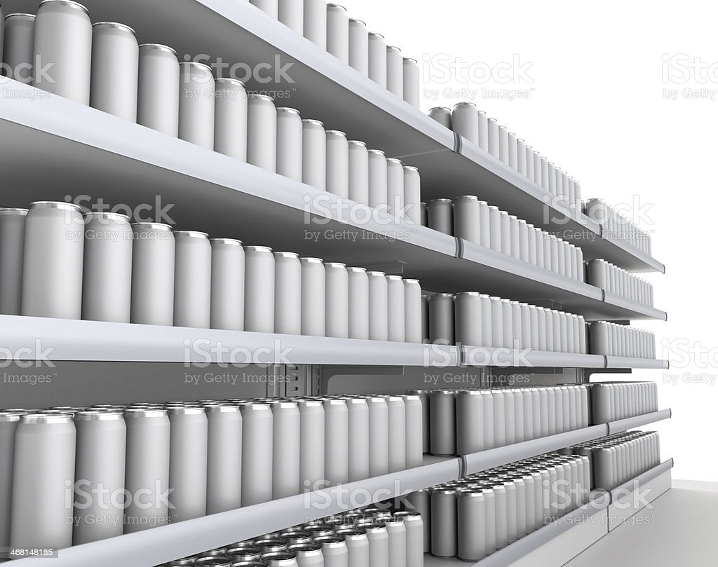 triple set of shelves full of silver cans in the supermarket