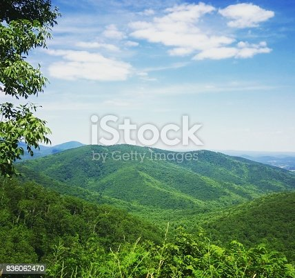 Beautiful day, Shenandoah national park. Look out green mountains, blue sky as background. Created in 06/19/2016.