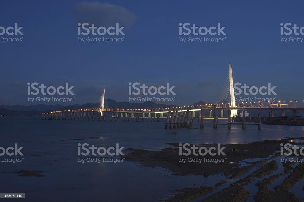Shenzhen Bay Bridge,Night view,China stock photo