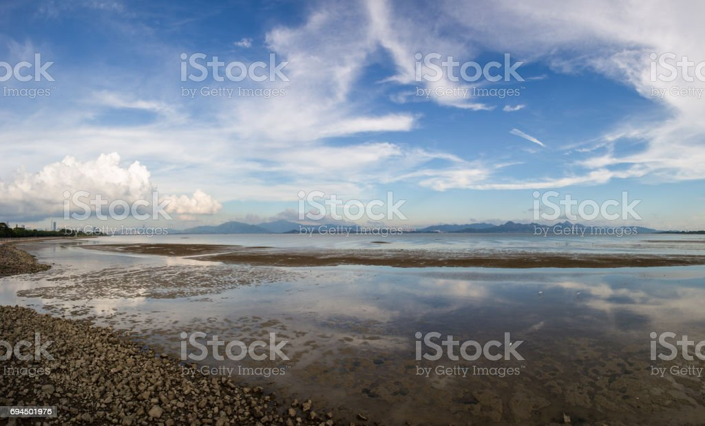 Shenzhen bay park at low tide stock photo