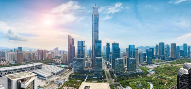 Paisaje de la ciudad de Shenzhen y el concepto de ciencia y tecnología - foto de stock