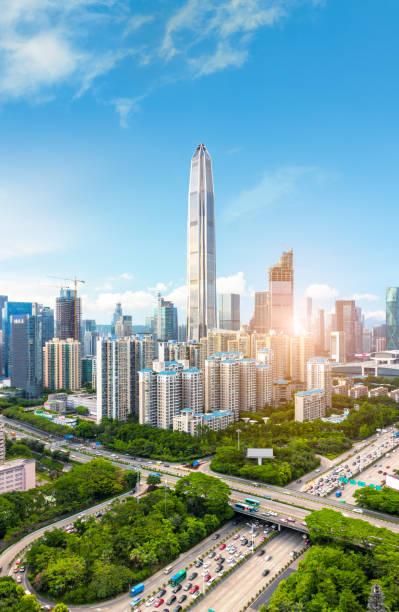 Shenzhen Horizonte a la ciudad - foto de stock