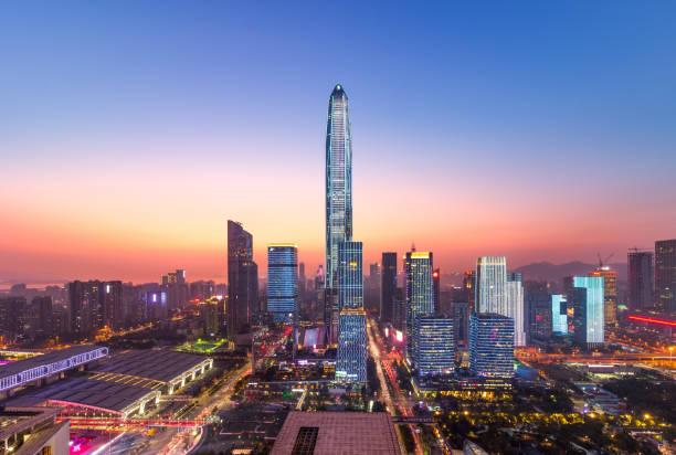 Horizonte de distrito financiero de Shenzhen Futian CBD - foto de stock