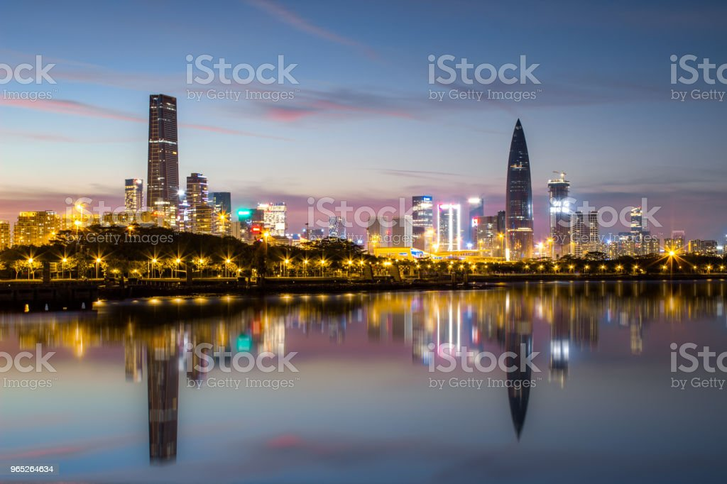 Shenzhen Houhai financial district at night royalty-free stock photo