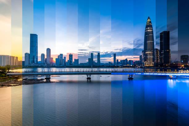 Horizonte de la ciudad de distrito financiero de Shenzhen Houhai - foto de stock