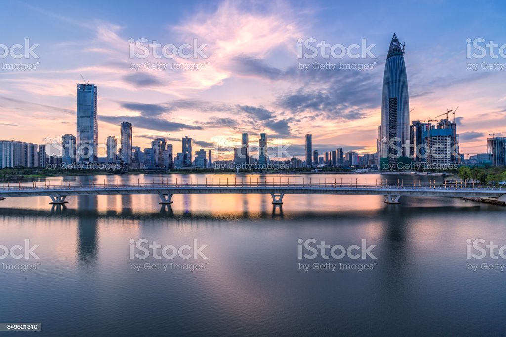 Shenzhen, Houhai, talent Park and the evening of city architecture stock photo