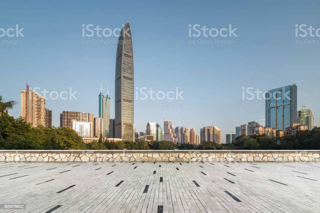 Shenzhen landmarks under the blue sky and no people on the floor stock photo