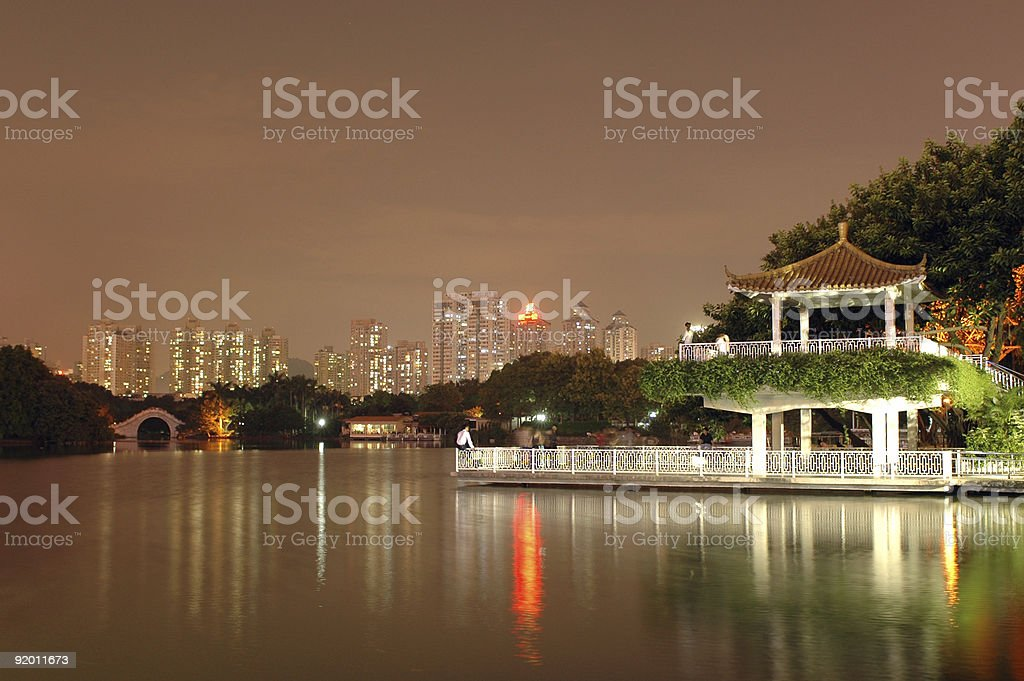 Shenzhen - Litchi park by night royalty-free stock photo