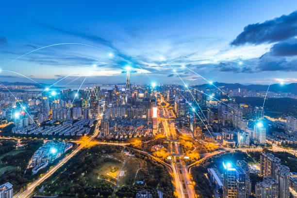 Shenzhen rápido desarrollo en la ciudad, espacio de big data - foto de stock