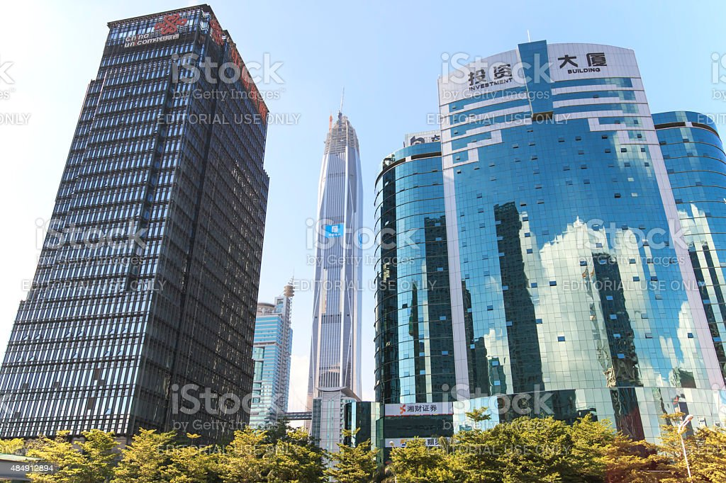 Shenzhen skyline as seen from the Stock Exchange building stock photo