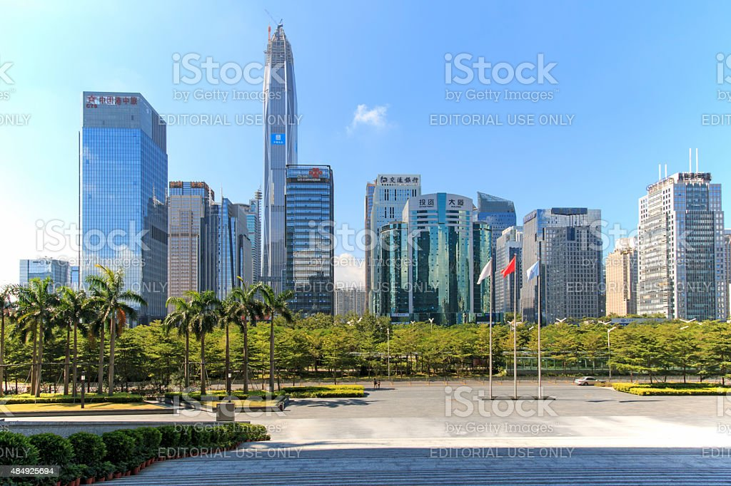 Shenzhen skyline as seen from the Stock Exchange stock photo