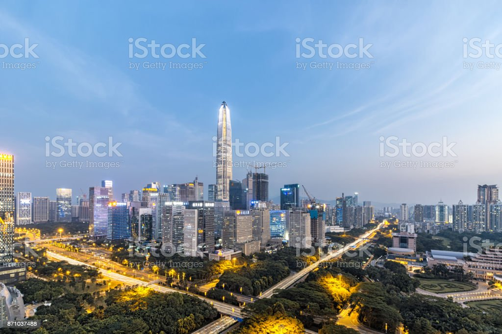 Shenzhen skyline at night stock photo