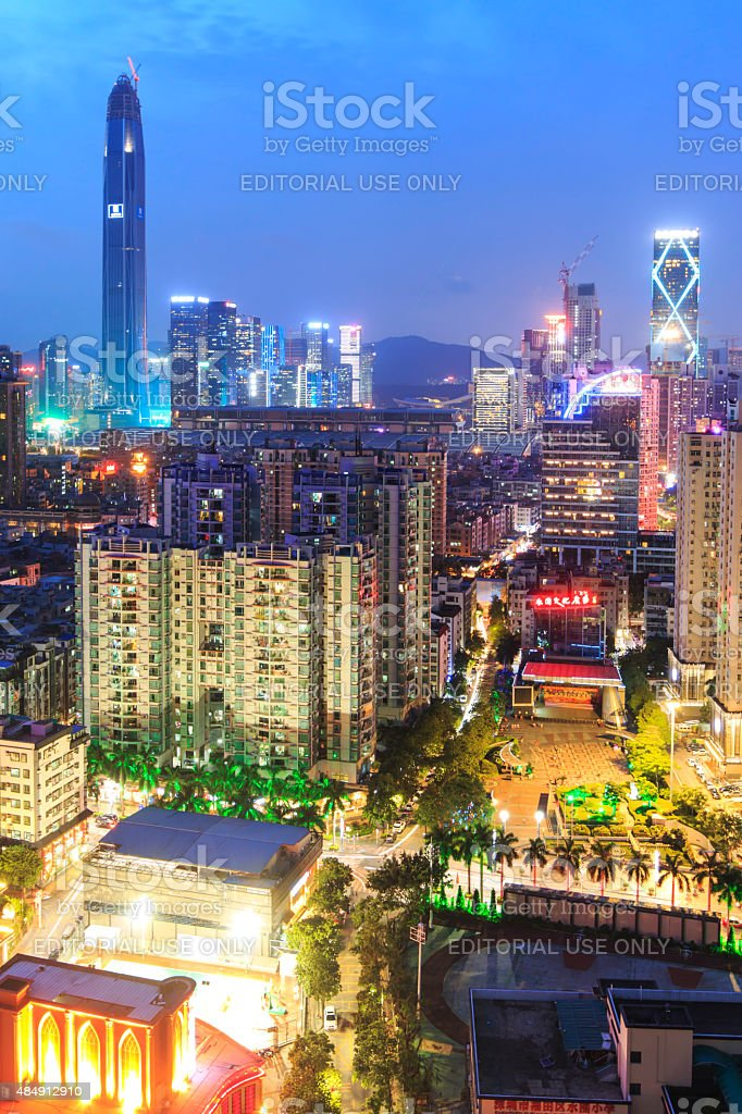 Shenzhen skyline at twilight stock photo