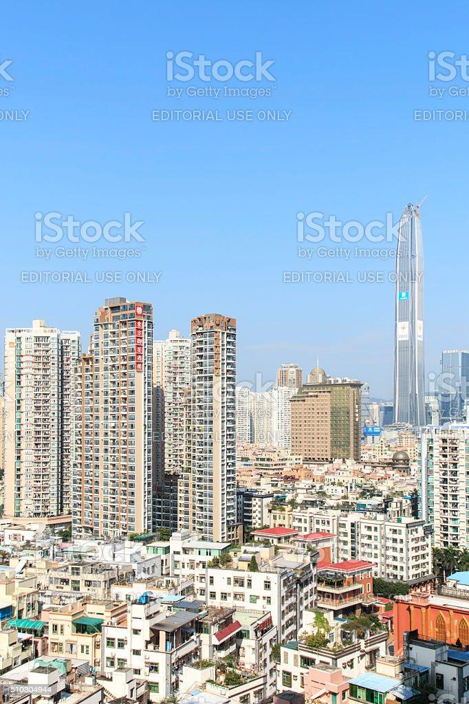 Shenzhen skyline with the KK100 on background stock photo