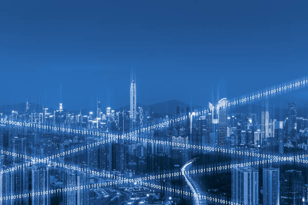 Clúster de Arquitectura Urbana de Shenzhen y Concepto de Big Data - foto de stock