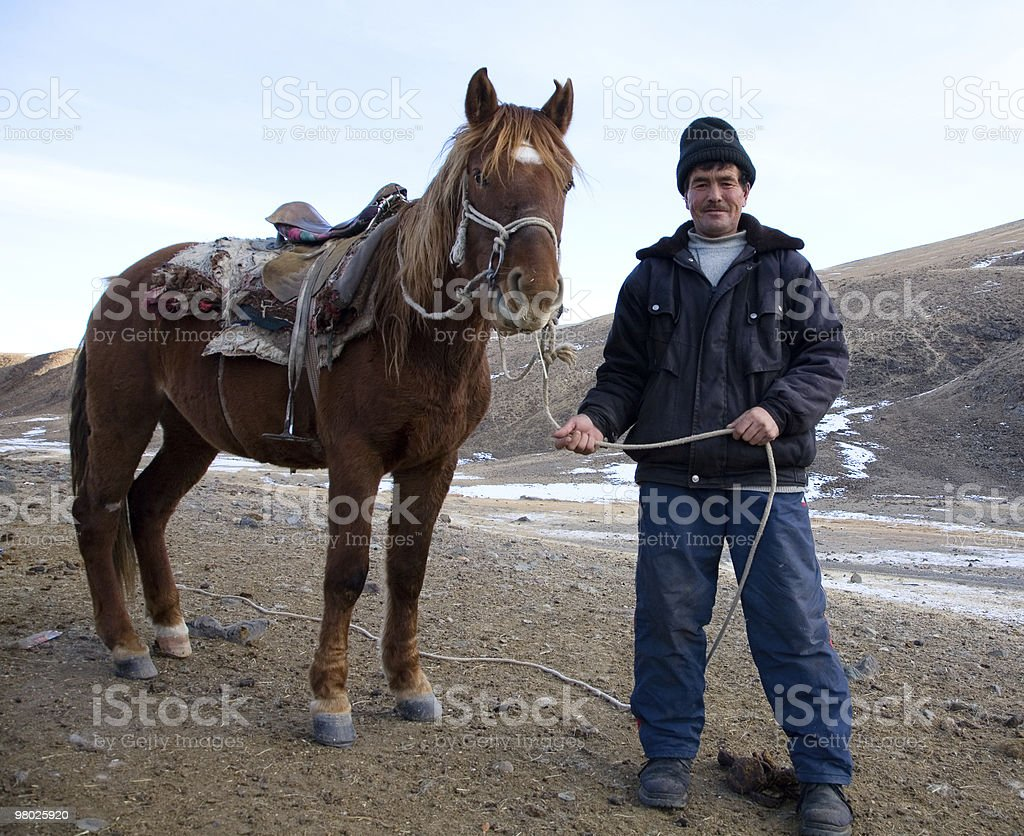 Shepherd and his horse royalty-free stock photo