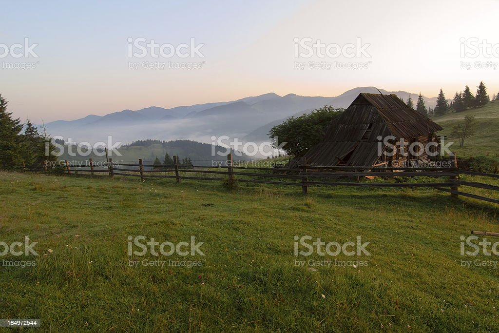 Shepherd's hut on an Carpathians meadow royalty-free stock photo