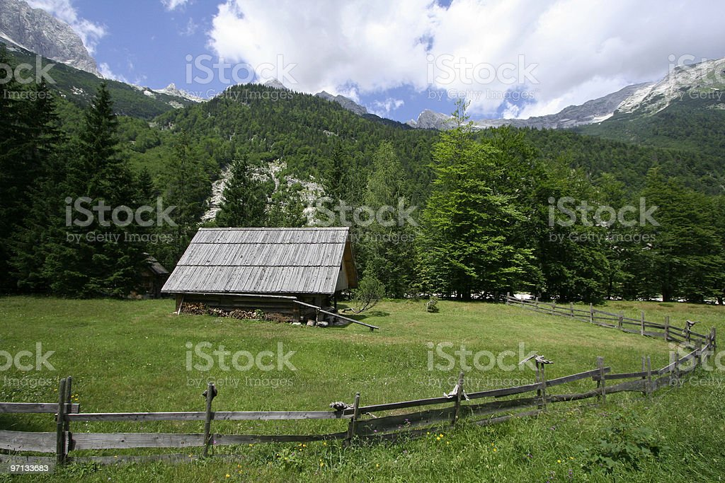 shepherd's lodge in the middle of alps royalty-free stock photo