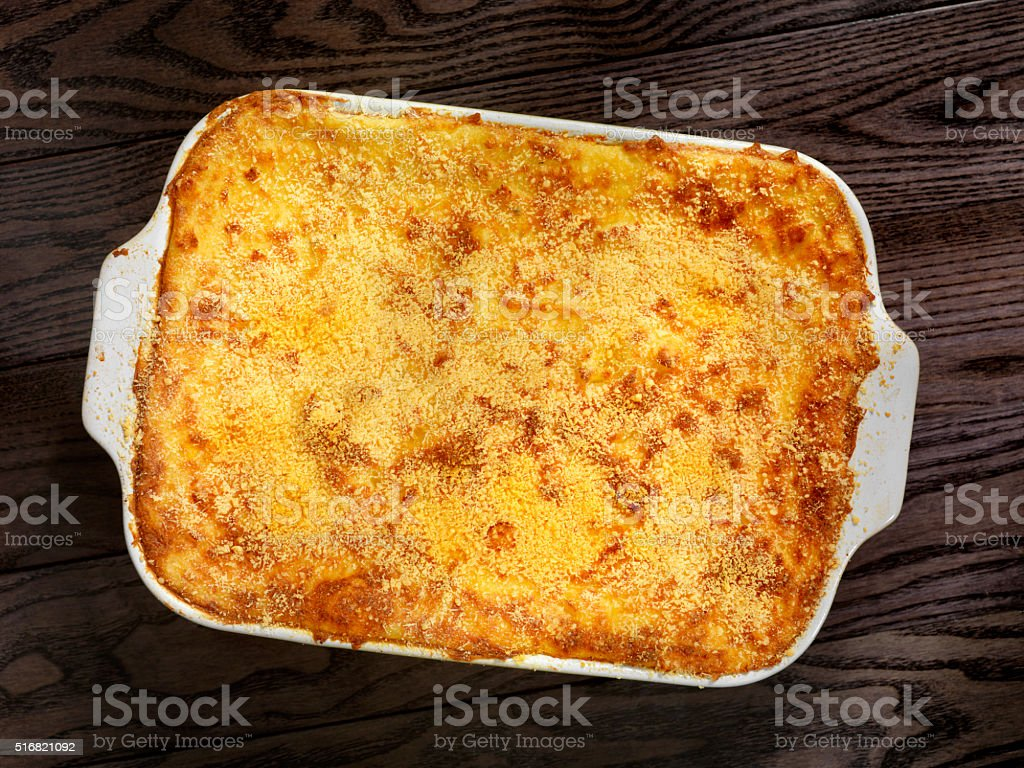 Shepherds Pie with a Parmesan Crust stock photo