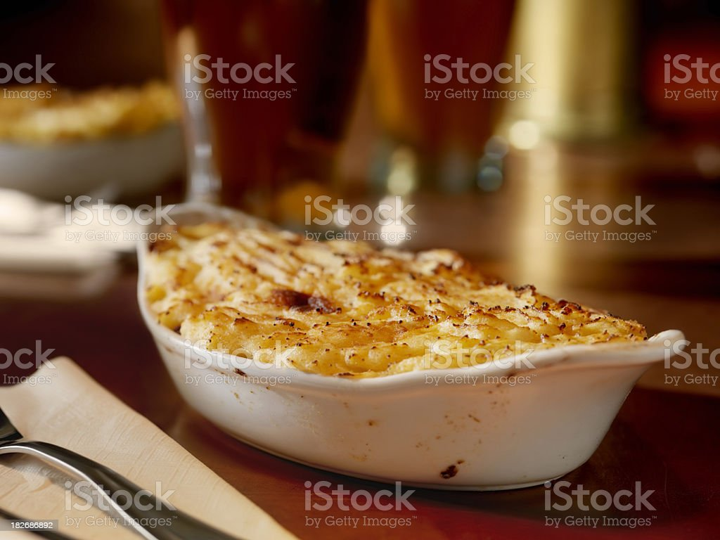shepherds pie with Pints of Beer stock photo