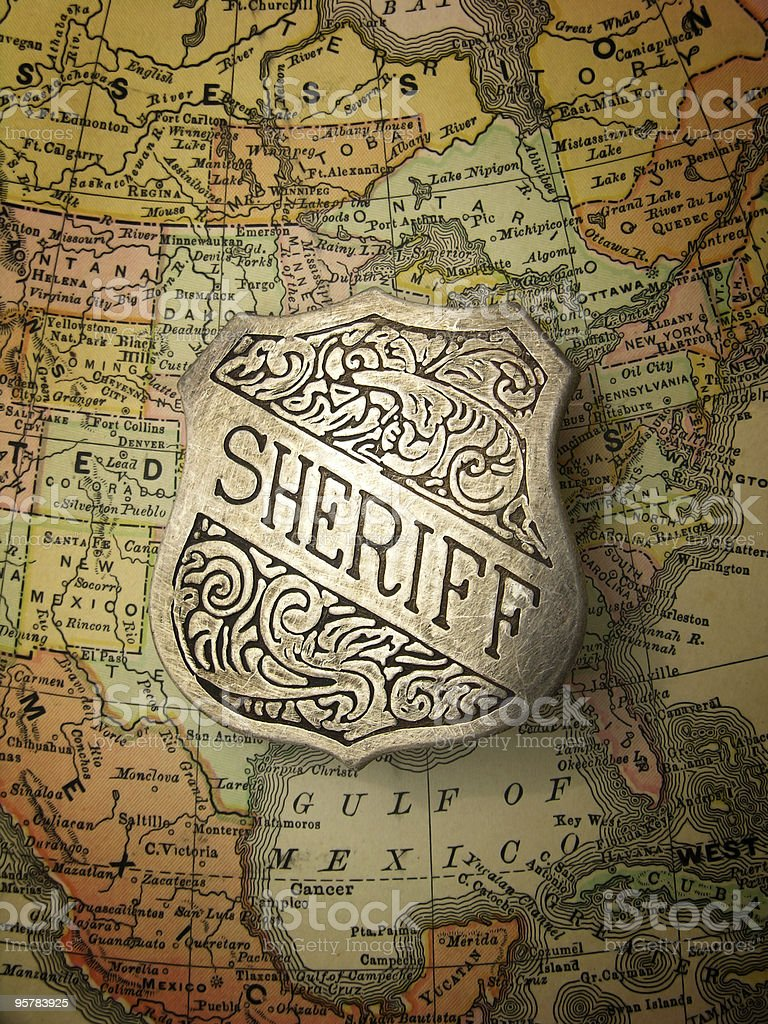 Sheriff Badge on Map of North America royalty-free stock photo
