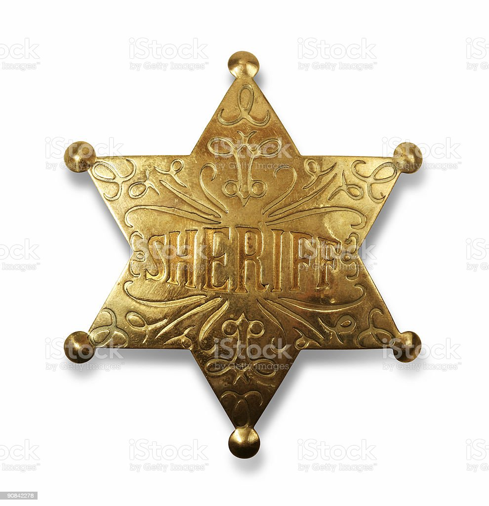 Sheriff badge with path stock photo
