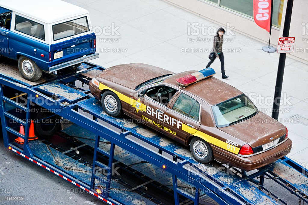 Sheriff Car on tow truck, Hollywood Boulevard royalty-free stock photo