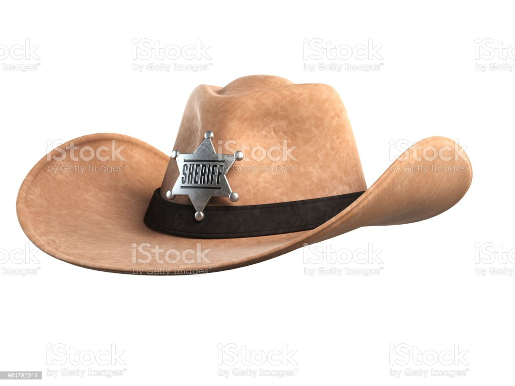 Sheriff hat isolated on white background 3d rendering royalty-free stock photo
