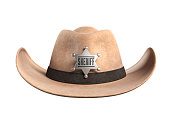 Sheriff hat isolated on white background 3d rendering